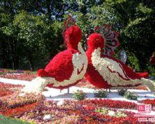 仿真植物雕塑里的仿真花卉鸟