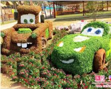 以热门动画电影制作的仿真植物雕塑——赛车总动员